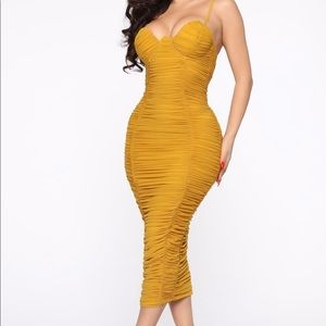 Need You In My Life Ruched Midi Dress - Mustard